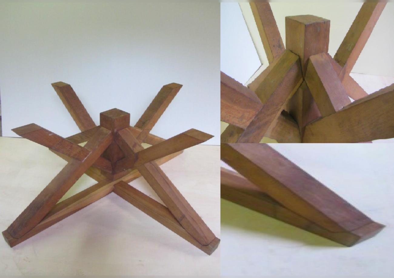 Basamento per tavolo in rovere falegnameria di martino for Piani di coperta in legno